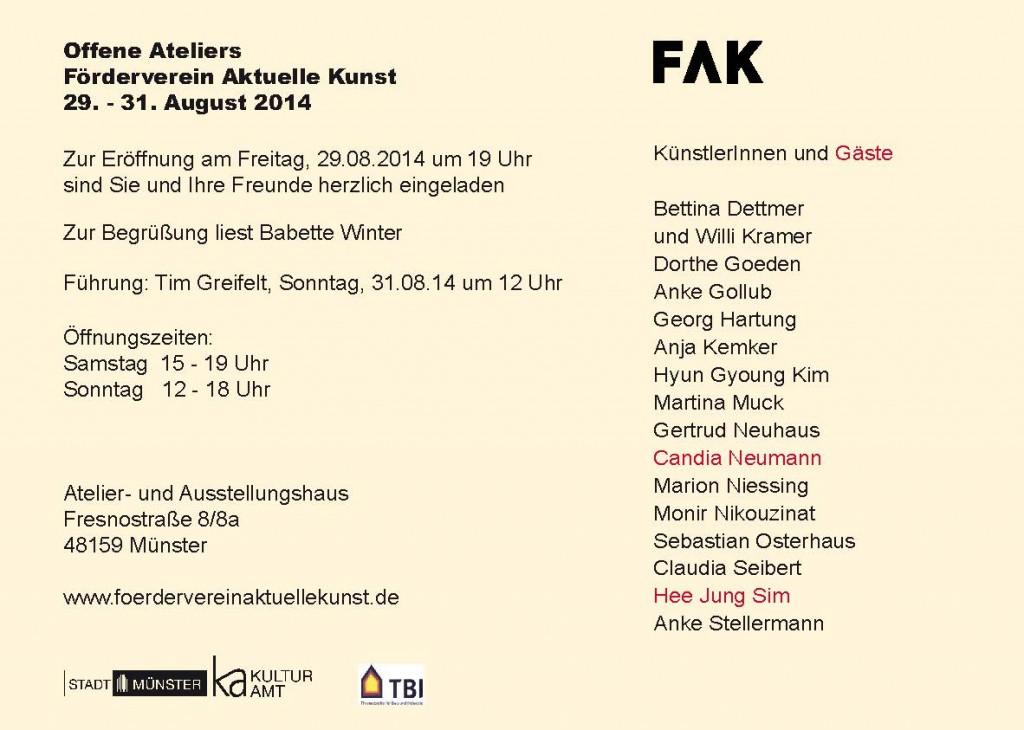 offene Ateliers FAK 2014